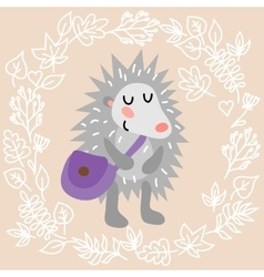 Cute hedgehog vector image