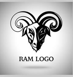 Dark ram goat head with horns template vector