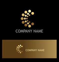 Dot letter c gold logo vector