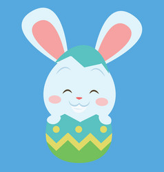 easter bunny on the egg art vector image
