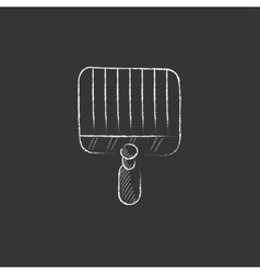 Empty barbecue grill grate Drawn in chalk icon vector