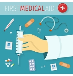 First Medical Aid Set of Icons Health Equipment vector image