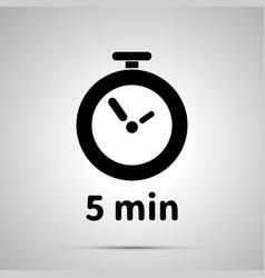 Five minutes timer simple black icon with shadow vector