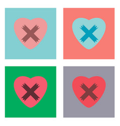 Flat icon design collection heart plaster icon vector