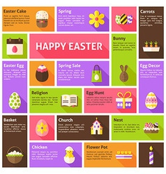Flat Icons Infographic Happy Easter Concept vector image