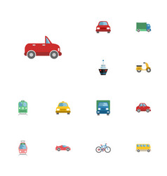 flat icons streetcar scooter transport and other vector image