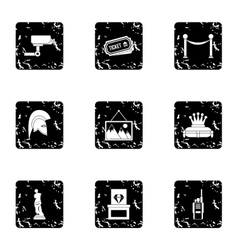 Gallery in museum icons set grunge style vector