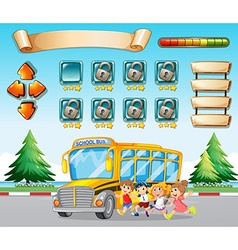Game template with kids and schoolbus vector