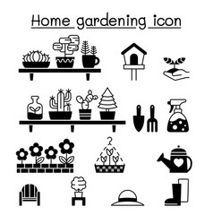 gardening icons set graphic design vector image