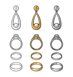 Gold and platinum rings with diamond vintage vector