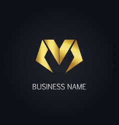 gold letter m business logo vector image