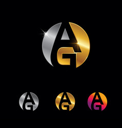 golden and silver monogram letter ag sign vector image
