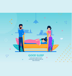 good sleep banner happy family conceptual template vector image