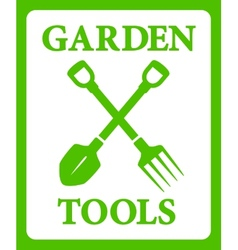 green background with tools for gardening work vector image