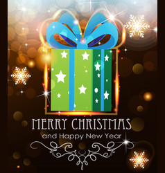 Green christmas gift on holiday background vector