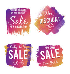 grunge colorful discount and sale labels isolated vector image