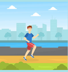 guy running in park physical workout training vector image