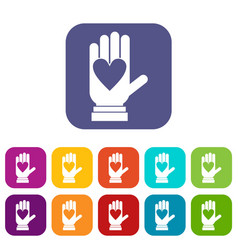 Hand with heart icons set vector