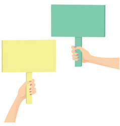 Hands holding a picket sign vector