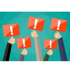 hands holding sign boards with exclamation mark vector image