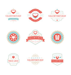 happy valentines day greetings cards and badges vector image