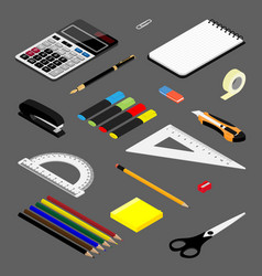 Isometric office stationery set collection vector
