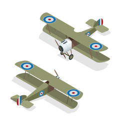 Isometric small airplane or old biplane vector