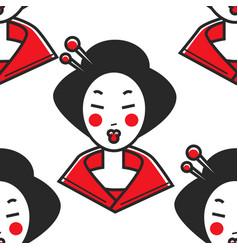 japanese woman geisha makeup and chopsticks in vector image