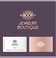 jewelry boutique logo pink gold ornament like lace vector image