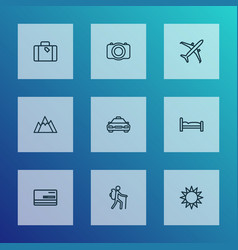 Journey icons line style set with plane sunny vector