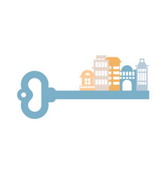 key to city buildings and homes urban clue vector image