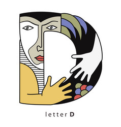 letter d with mask vector image