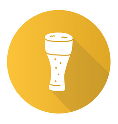 Light beer glass with froth yellow flat design vector