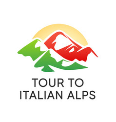 logo for travel tour to alpine mountains in italy vector image