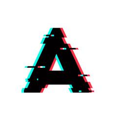 Logo letter a glitch distortion vector