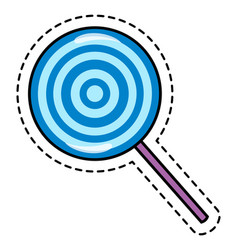 Lollipop sticker or label with dotted frame around vector
