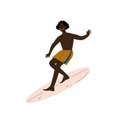 male surfer riding surfboard catching waves young vector image