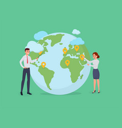 man and woman standing near globe vector image