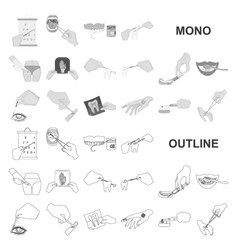Manipulation hands monochrom icons in set vector