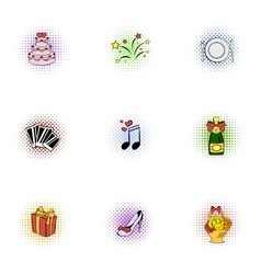 Marriage ceremony icons set pop-art style vector