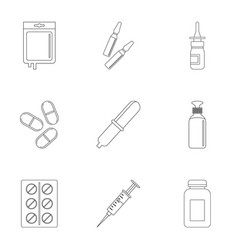 medication icon set outline style vector image