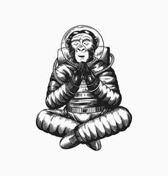 Monkey astronaut meditates in a yoga pose vector
