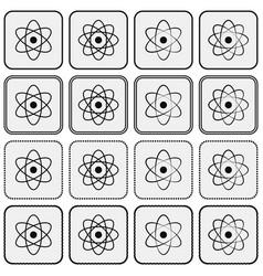 Monochrome planetary atom model science icon set vector