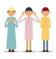 muslim praying three muslim men stand and pray vector image