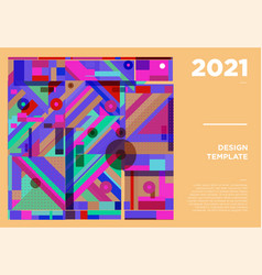 New year 2021 colorful geometric poster design vector