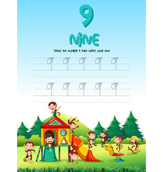 number nine tracing worksheets vector image