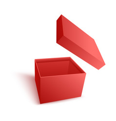 open empty red paper box with flying cover in vector image