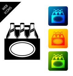 pack beer bottles icon isolated on white vector image