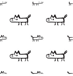 pig drawn by hand seamless pattern vector image