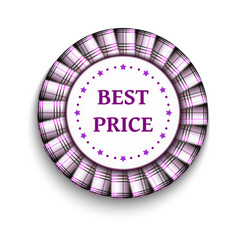 Pink light tartan best price badge with ribbon on vector